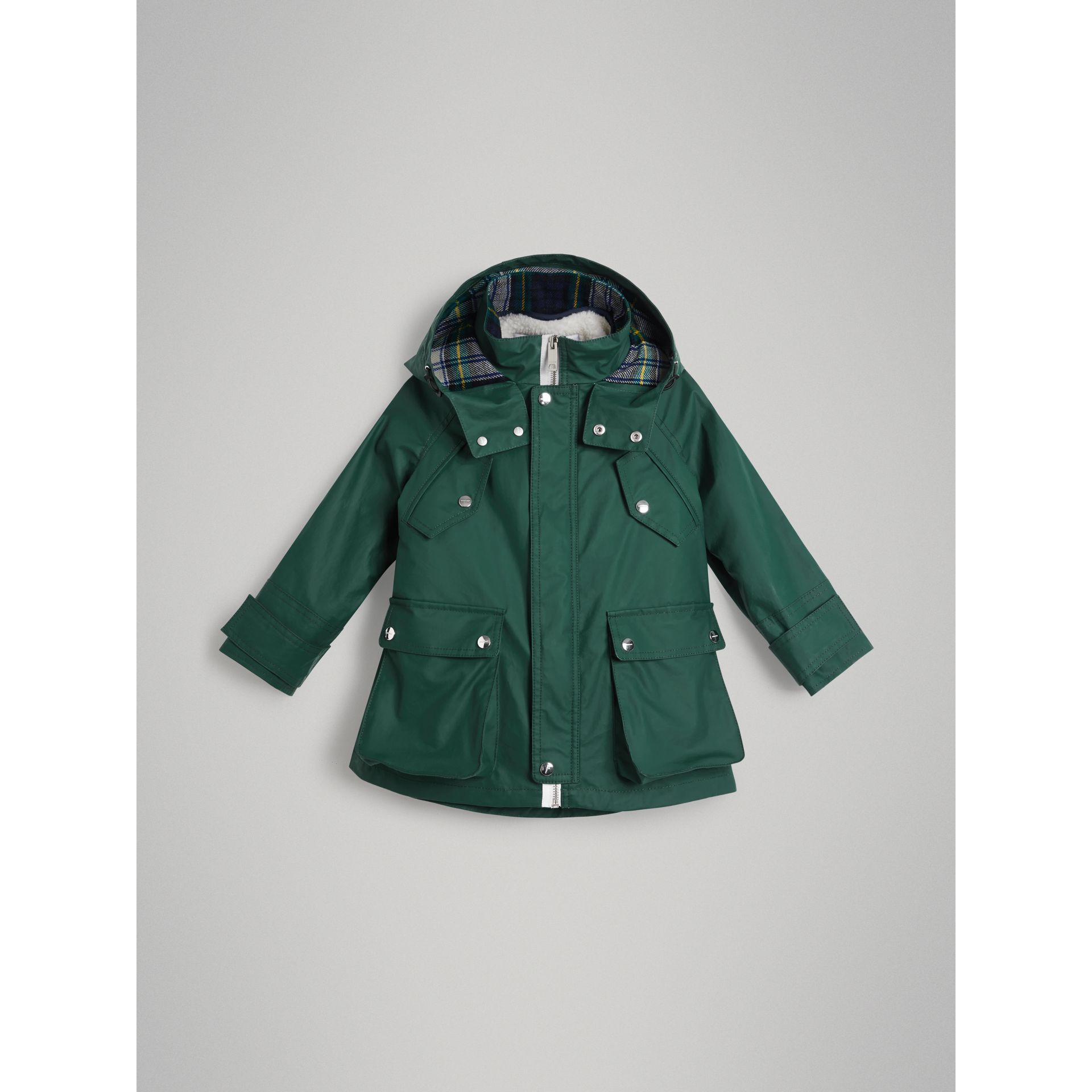 Cotton Blend Hooded Parka with Detachable Warmer in Forest Green | Burberry - gallery image 0