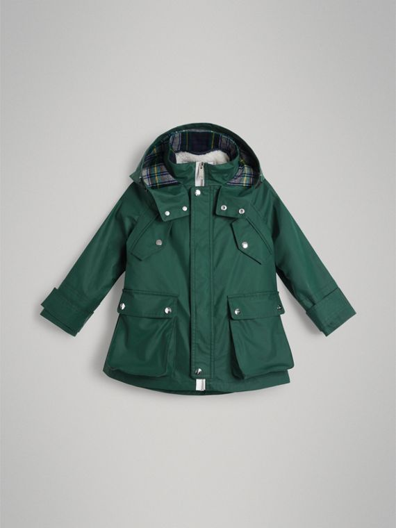Cotton Blend Hooded Parka with Detachable Warmer in Forest Green