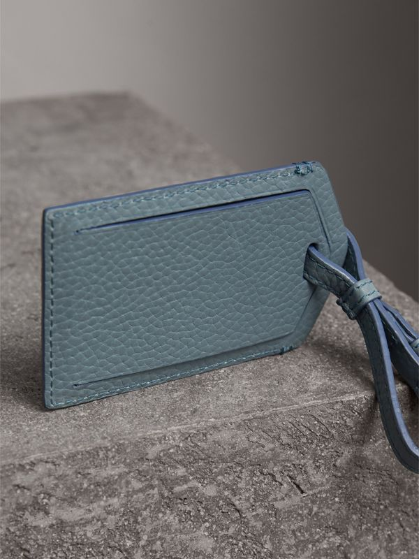 Grainy Leather Luggage Tag in Dusty Teal Blue | Burberry - cell image 2