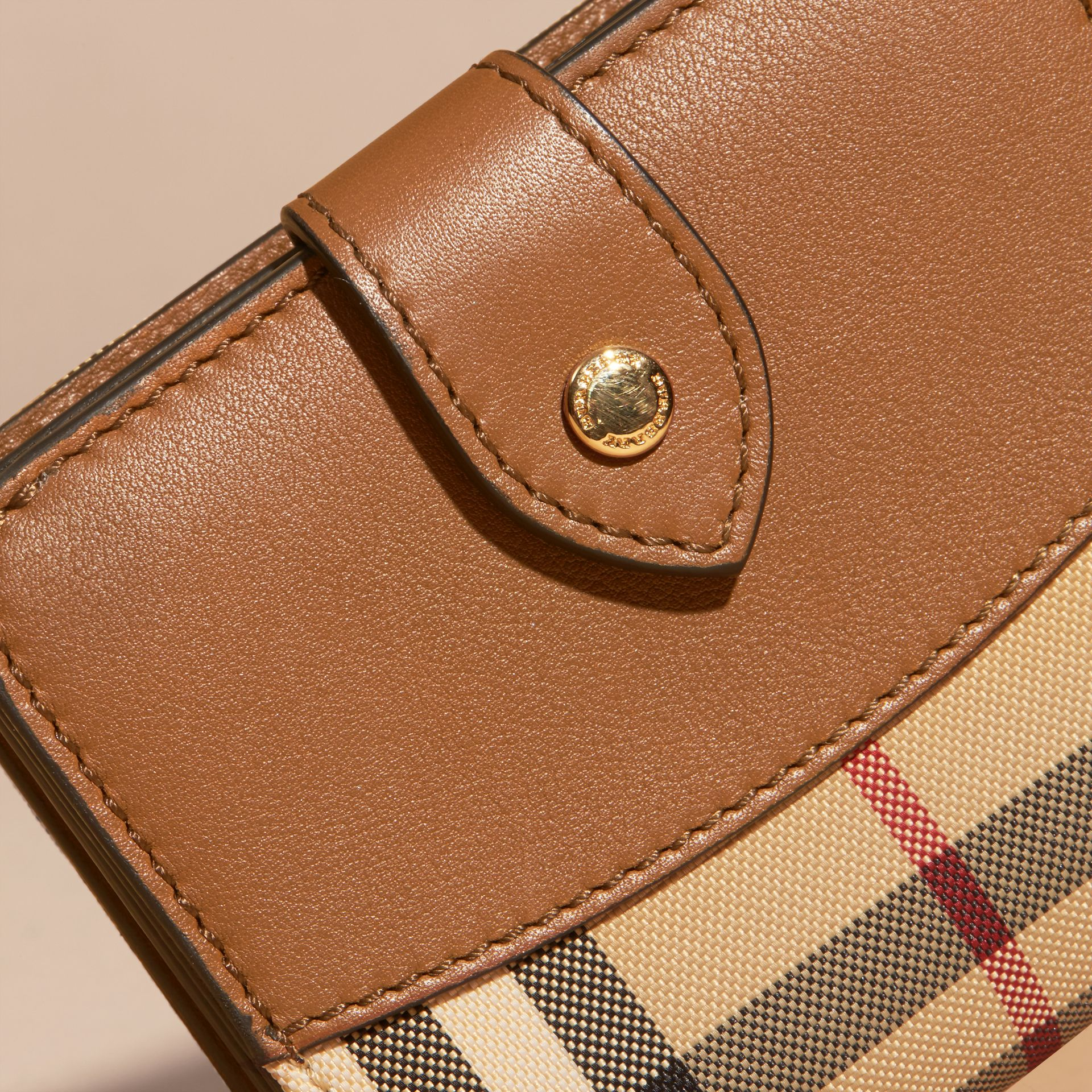 Tan Horseferry Check and Leather Wallet Tan - gallery image 2
