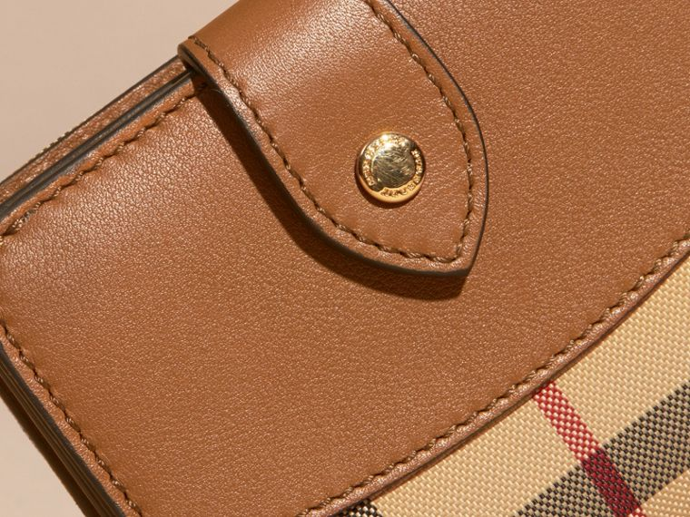 Tan Horseferry Check and Leather Wallet Tan - cell image 1