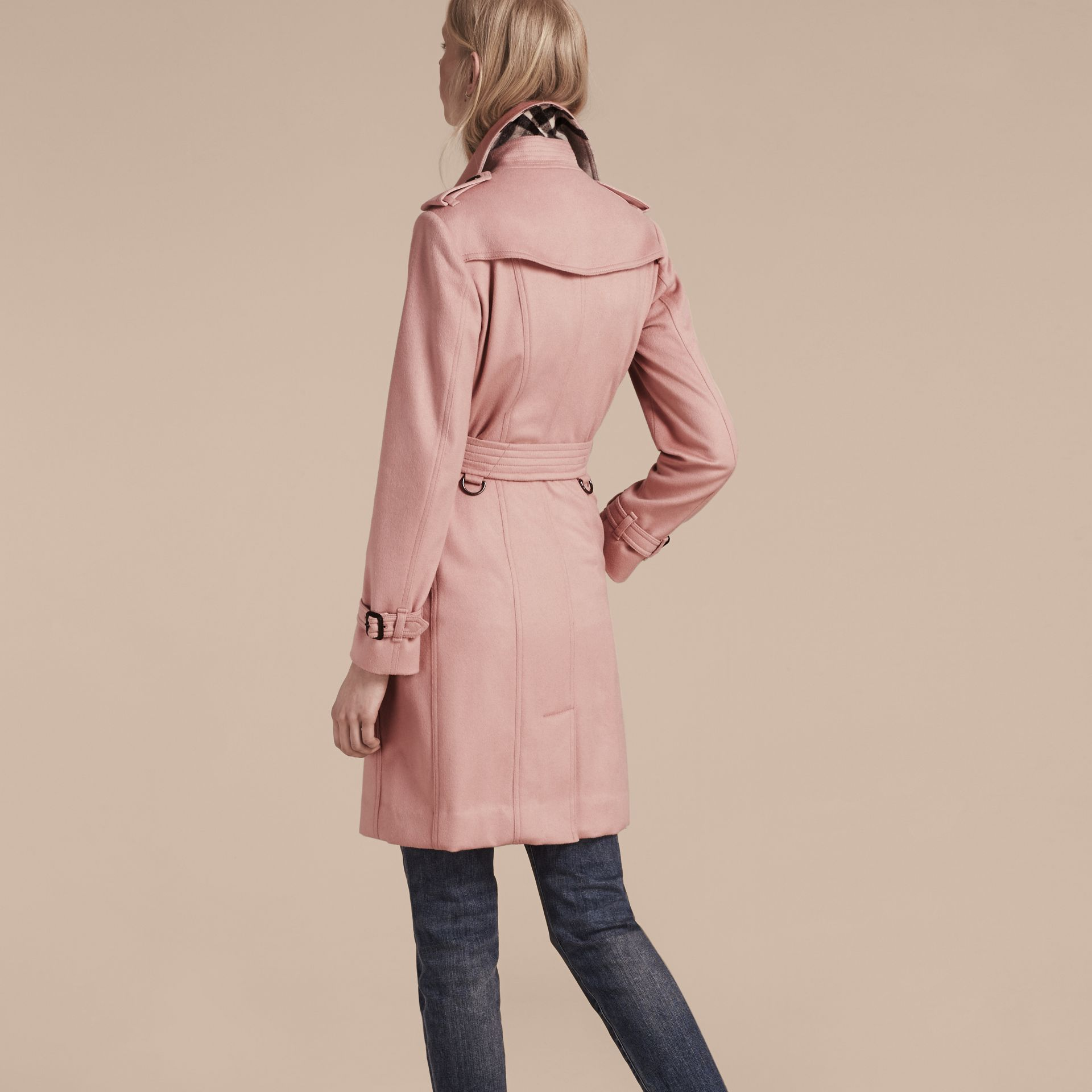 Sandringham Fit Cashmere Trench Coat Chalk Pink - gallery image 3