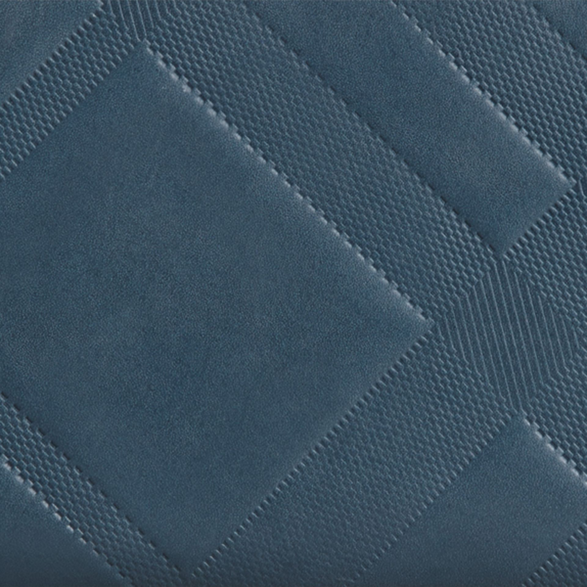 Steel blue Check-embossed Leather Ziparound Wallet Steel Blue - gallery image 2