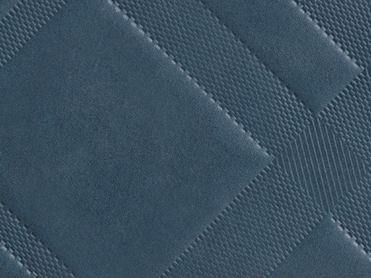 Steel blue Check-embossed Leather Ziparound Wallet Steel Blue - cell image 1