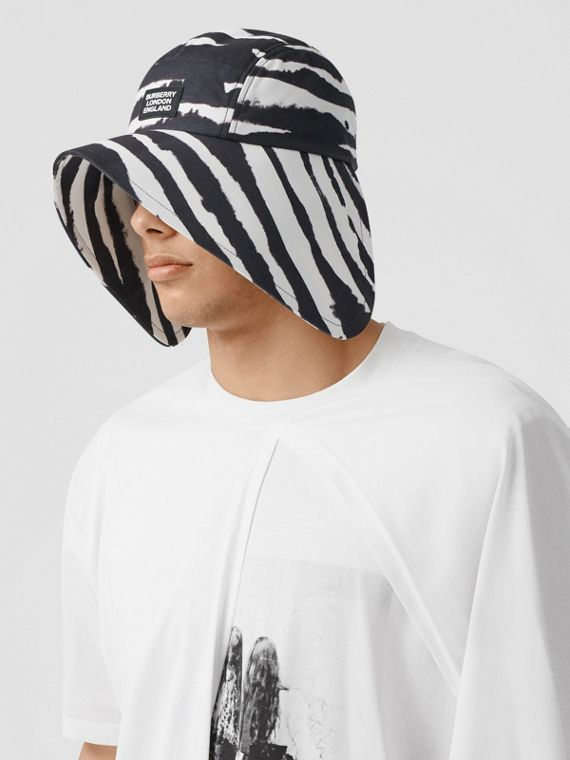 Watercolour Print Cotton Bonnet Cap in Black/white