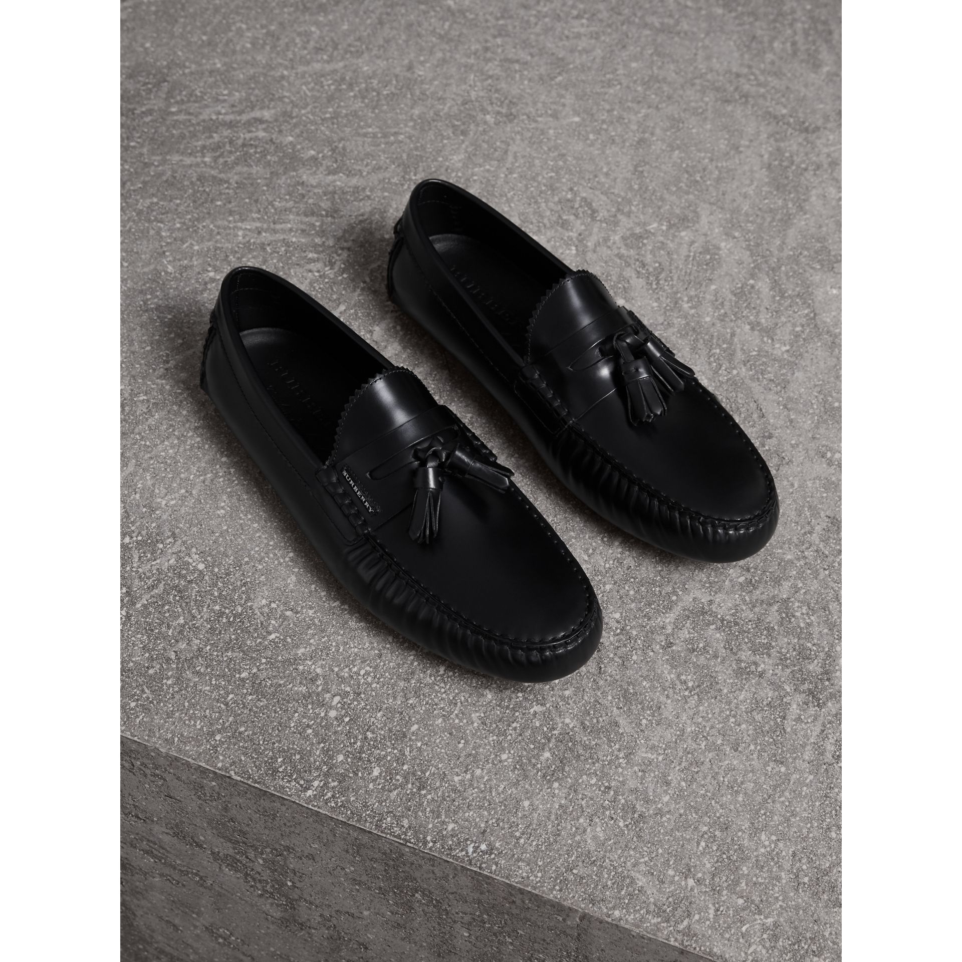 Tasselled Polished Leather Loafers in Black - Men | Burberry - gallery image 1