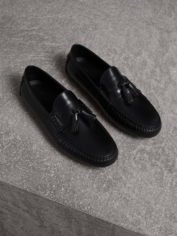 Tasselled Polished Leather Loafers in Black - Men | Burberry Australia