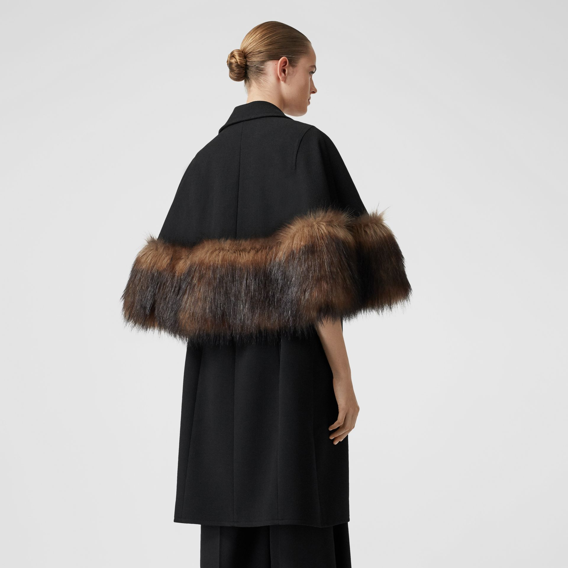 Faux Fur Trim Cape Detail Wool Blend Coat in Black - Women | Burberry - gallery image 2