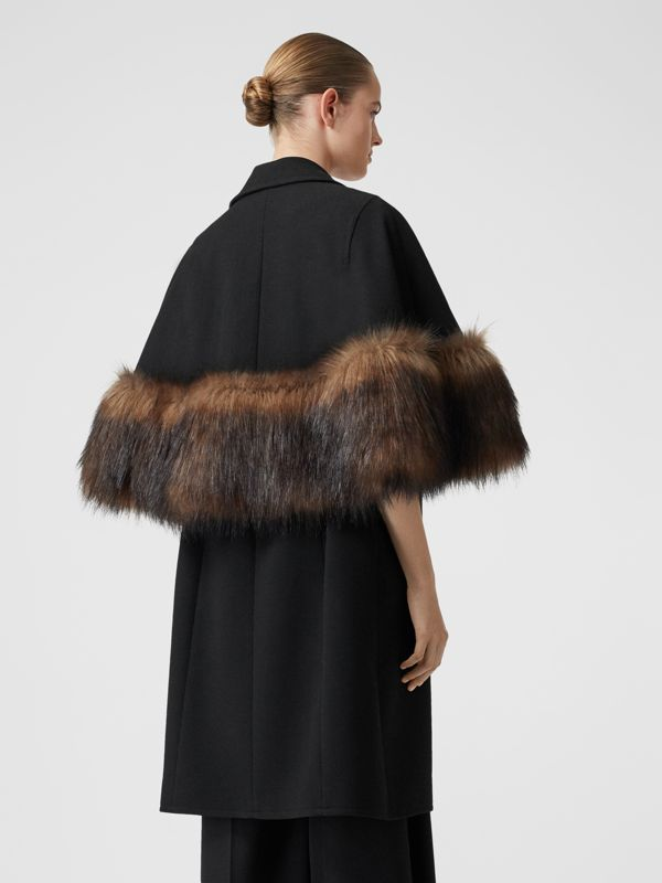 Faux Fur Trim Cape Detail Wool Blend Coat in Black - Women | Burberry - cell image 2