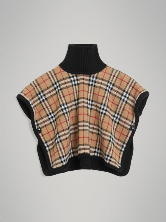 Reversible Vintage Check Merino Wool Jacquard Poncho in Black
