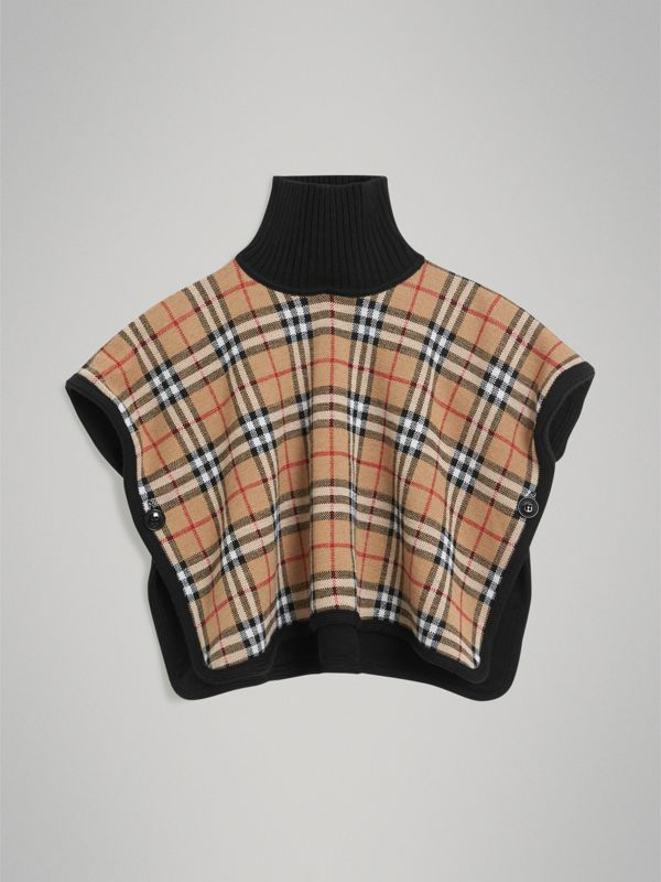Reversible Vintage Check Merino Wool Jacquard Poncho in Black - Girl | Burberry United Kingdom - cell image 3