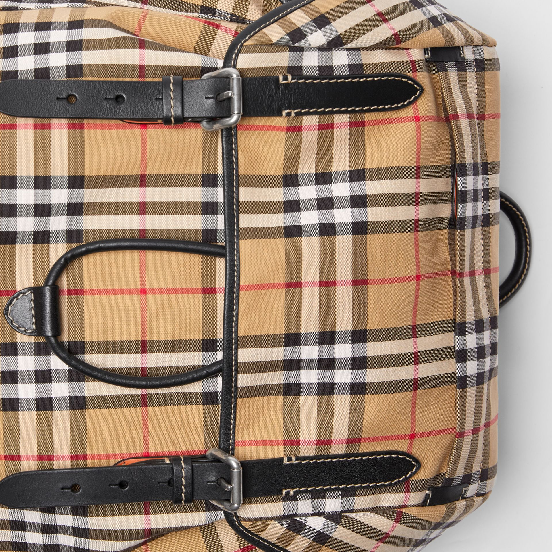 Vintage Check and Leather Backpack in Clementine - Men | Burberry - gallery image 1
