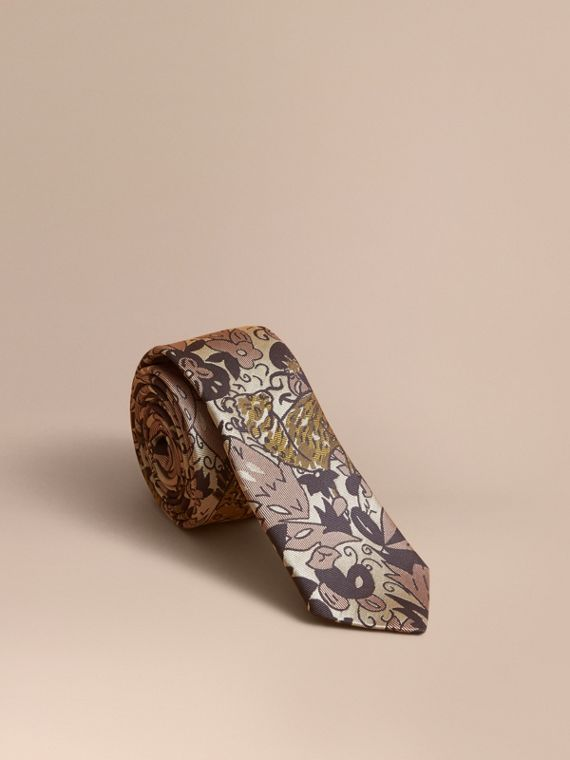 Slim Cut Beasts Silk Jacquard Tie in Antique Taupe Pink - Men | Burberry Australia