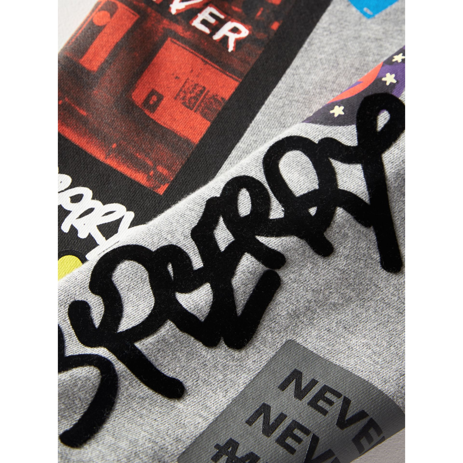 London Street Art Print Cotton Sweatpants in Grey Melange | Burberry - gallery image 1