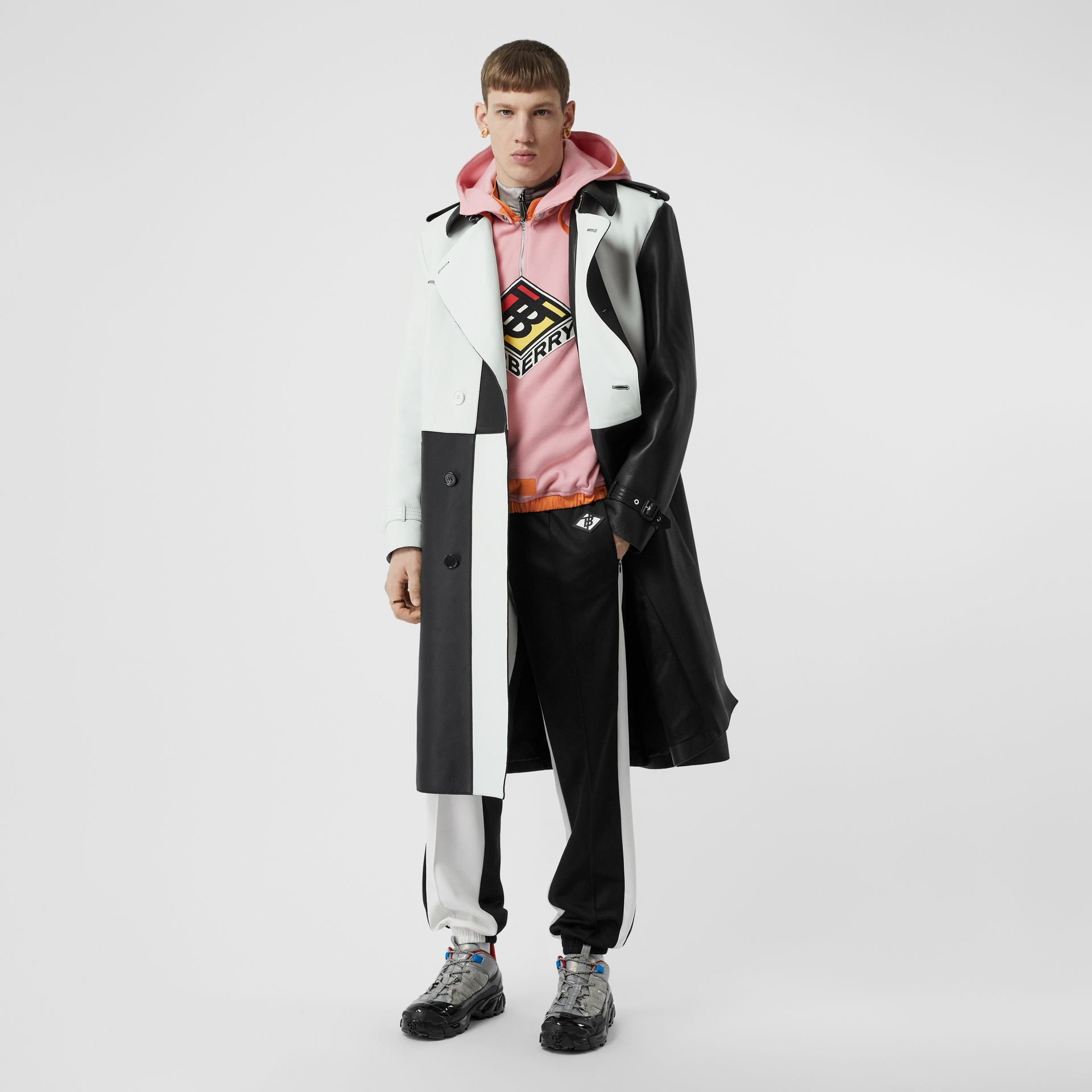 Logo Graphic Two-tone Jersey Trackpants in Black - Men | Burberry - gallery image 0