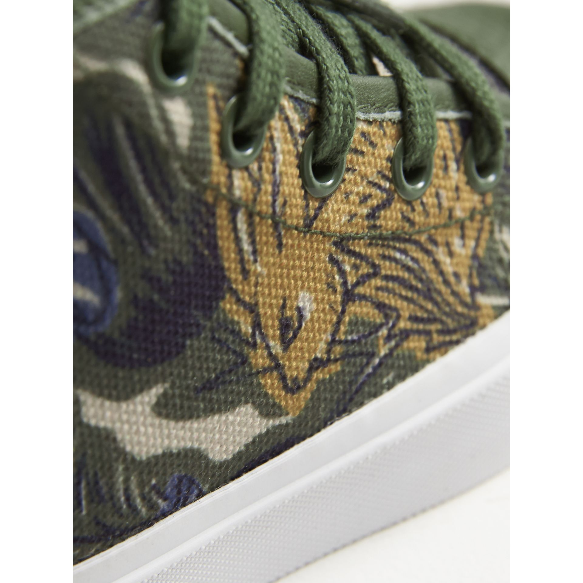 Beasts Print Cotton and Leather High-top Trainers in Clay Green | Burberry - gallery image 2