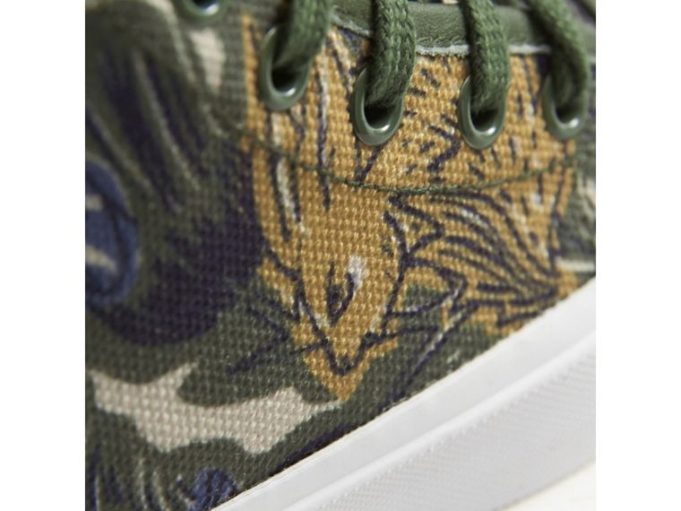 Beasts Print Cotton and Leather High-top Trainers in Clay Green | Burberry - cell image 1