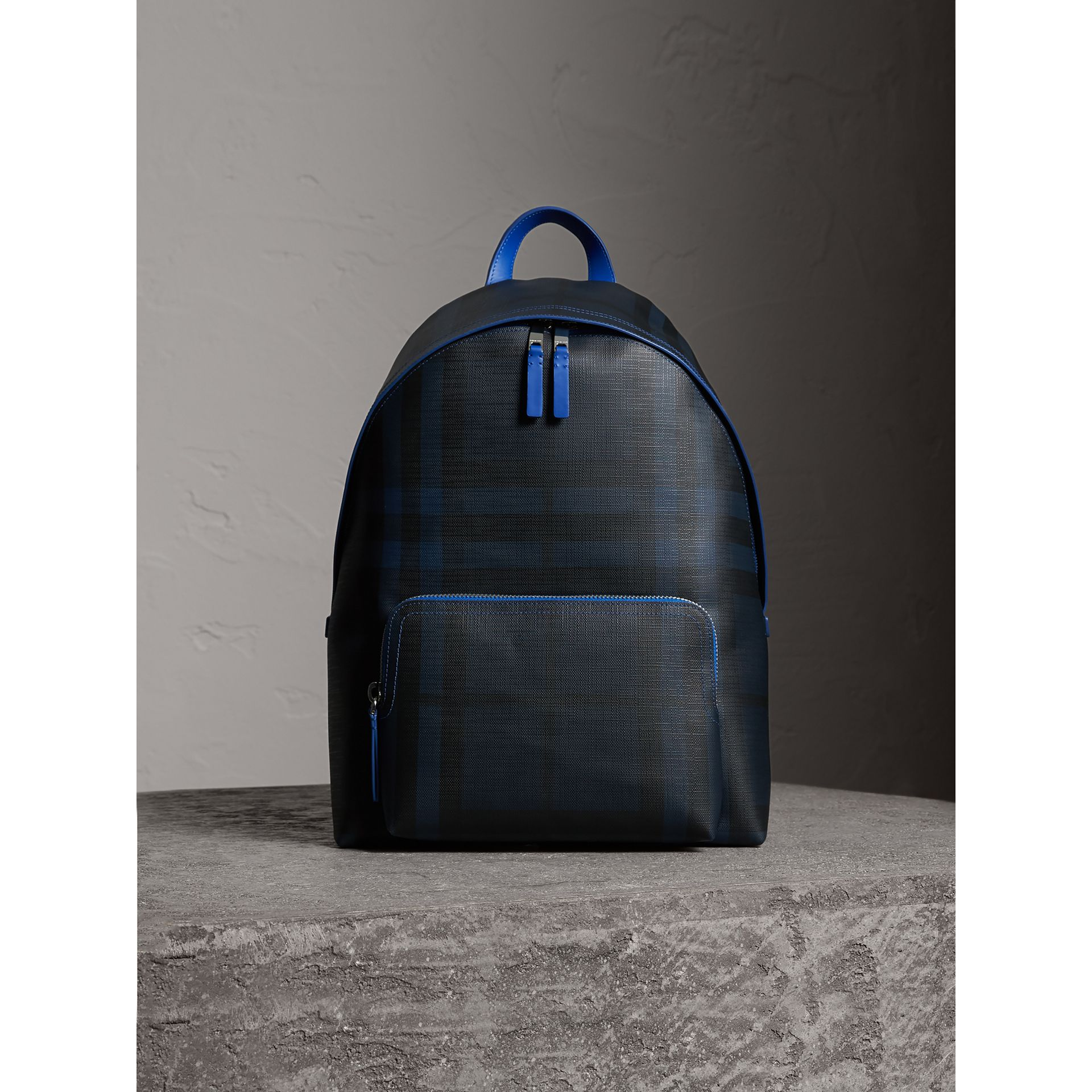 Leather Trim London Check Backpack in Navy/blue - Men | Burberry - gallery image 5