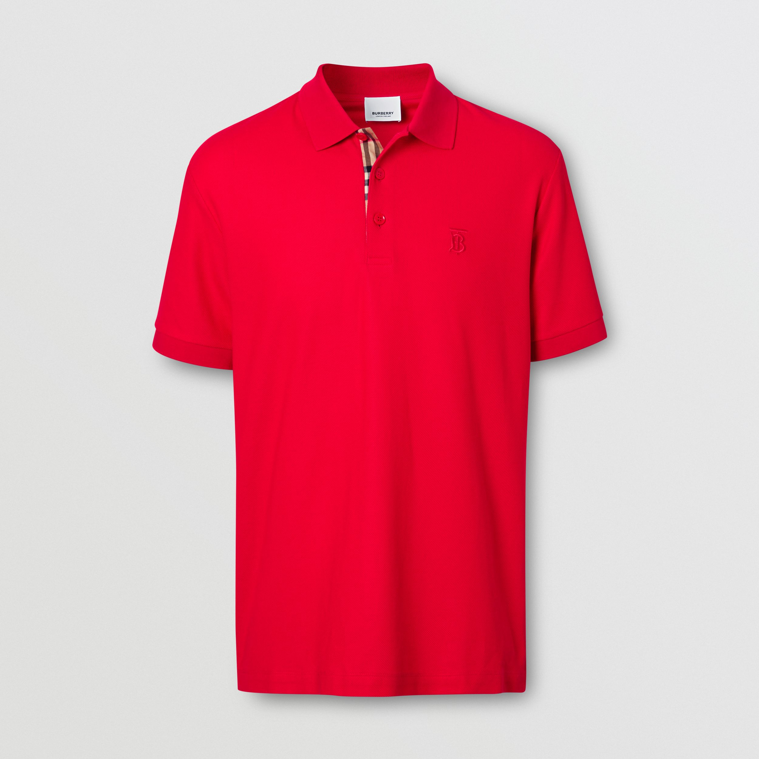 Monogram Motif Cotton Piqué Polo Shirt in Bright Red - Men | Burberry Canada - 4