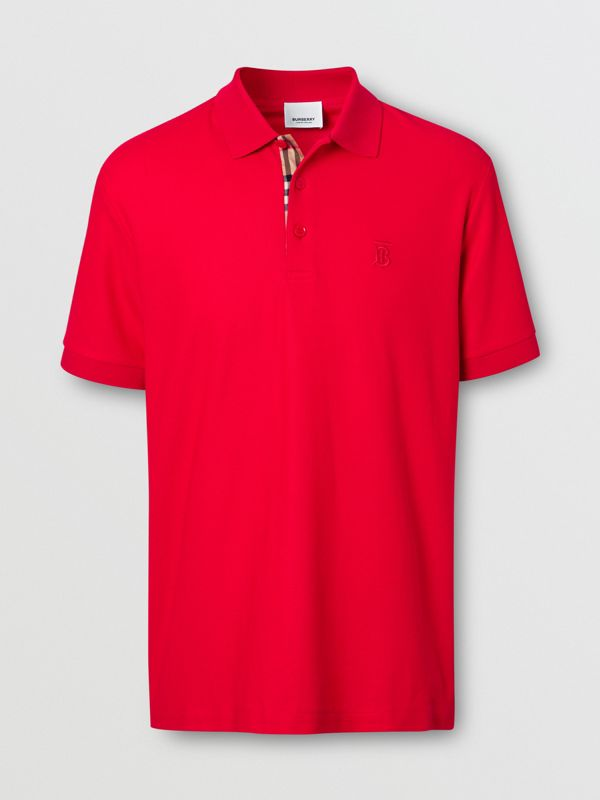 Monogram Motif Cotton Piqué Polo Shirt in Bright Red - Men | Burberry - cell image 3