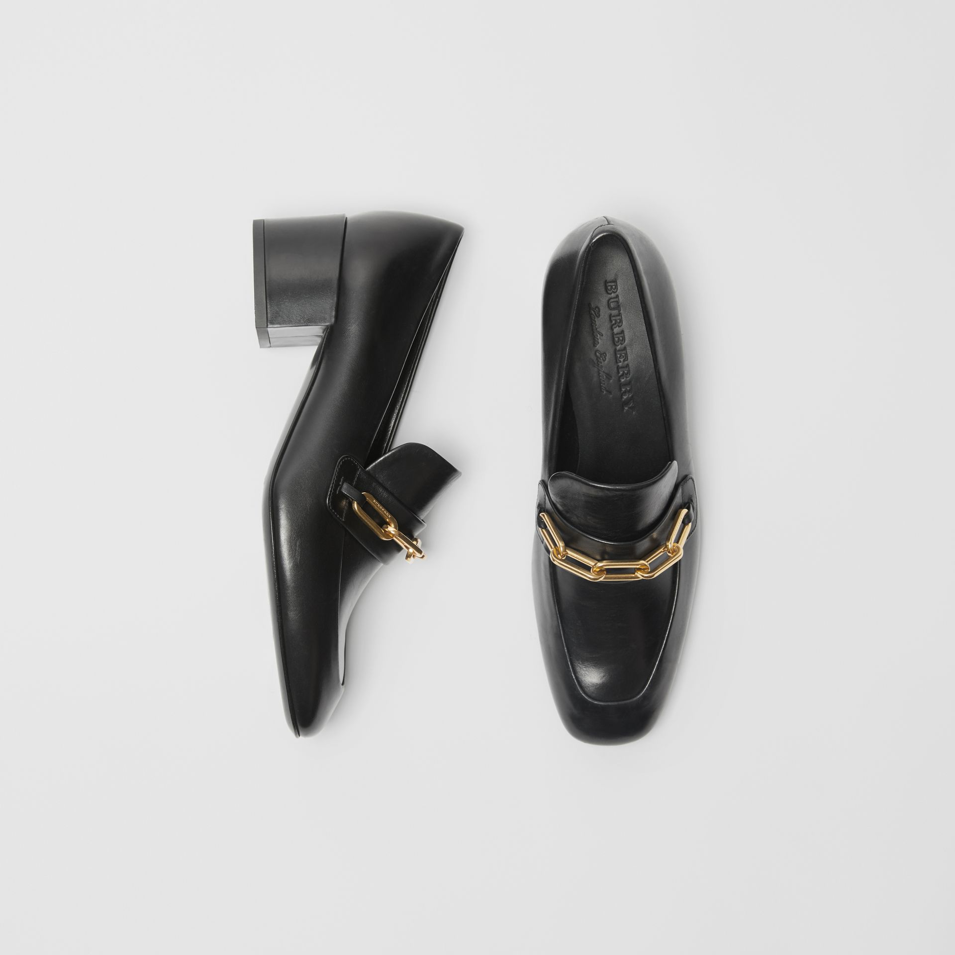 Link Detail Leather Block-heel Loafers in Black - Women | Burberry - gallery image 0