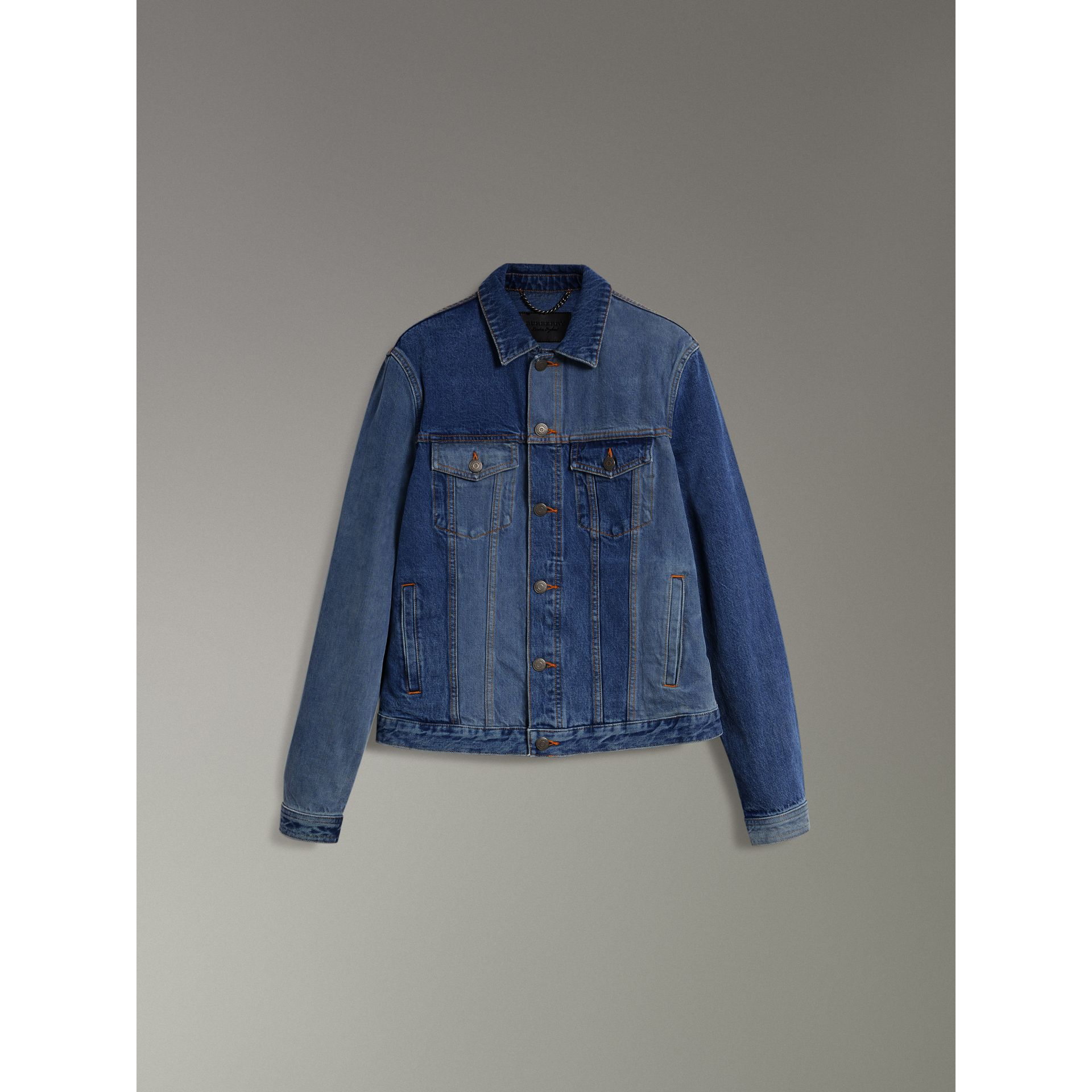 Two-tone Denim Jacket in Indigo - Men | Burberry - gallery image 3