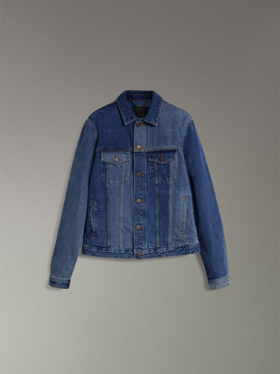Two-tone Denim Jacket in Indigo - Men | Burberry - cell image 3