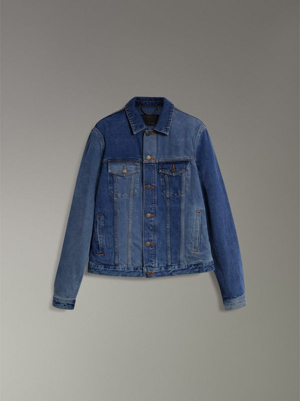 Two-tone Denim Jacket in Indigo - Men | Burberry Australia - cell image 3