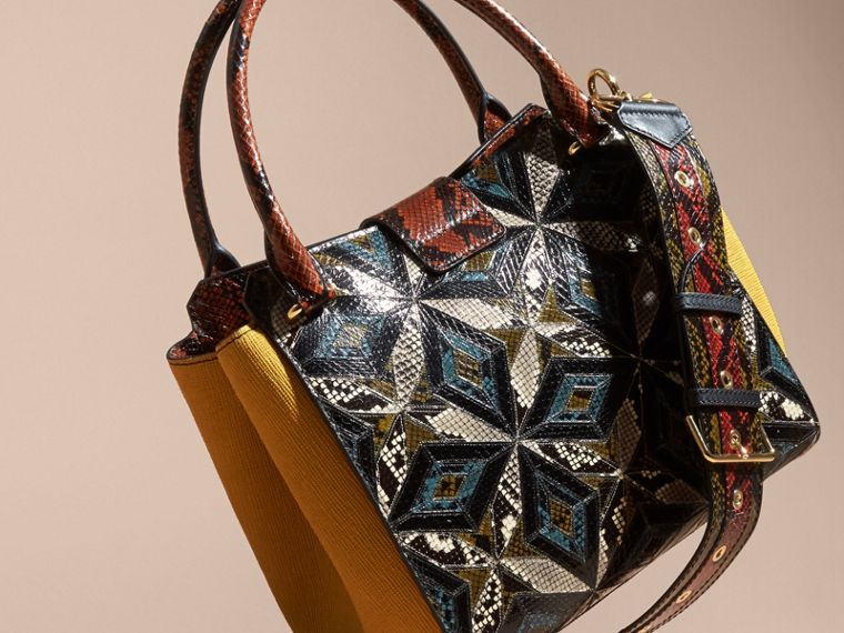 The Medium Buckle Tote in Tiled Snakeskin in Mineral Blue - Women | Burberry - cell image 4