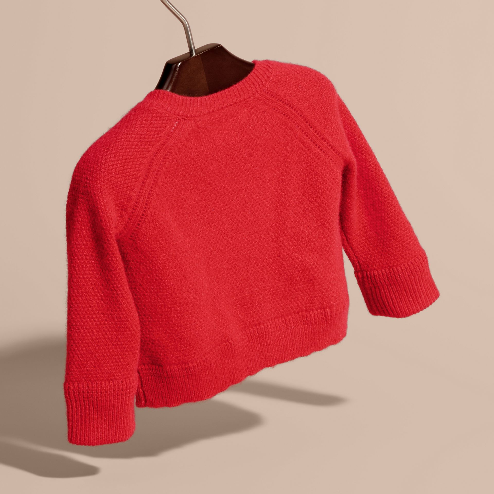 Textured Knit Cashmere Cardigan in Parade Red | Burberry - gallery image 4