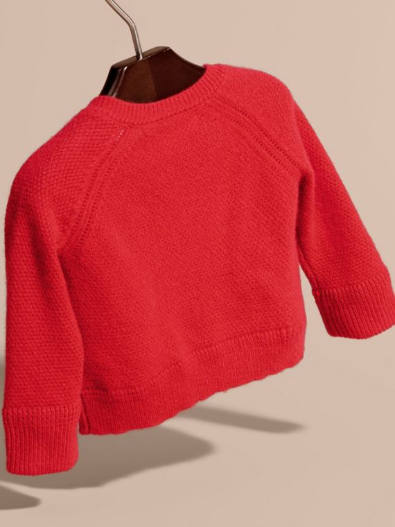 Textured Knit Cashmere Cardigan in Parade Red | Burberry - cell image 3