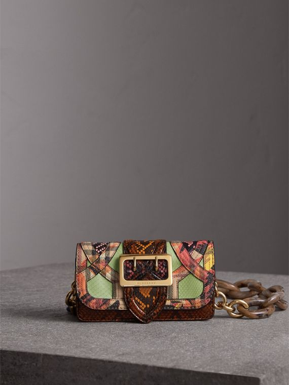 The Small Buckle Bag in Snakeskin and Floral Print in Pale Green