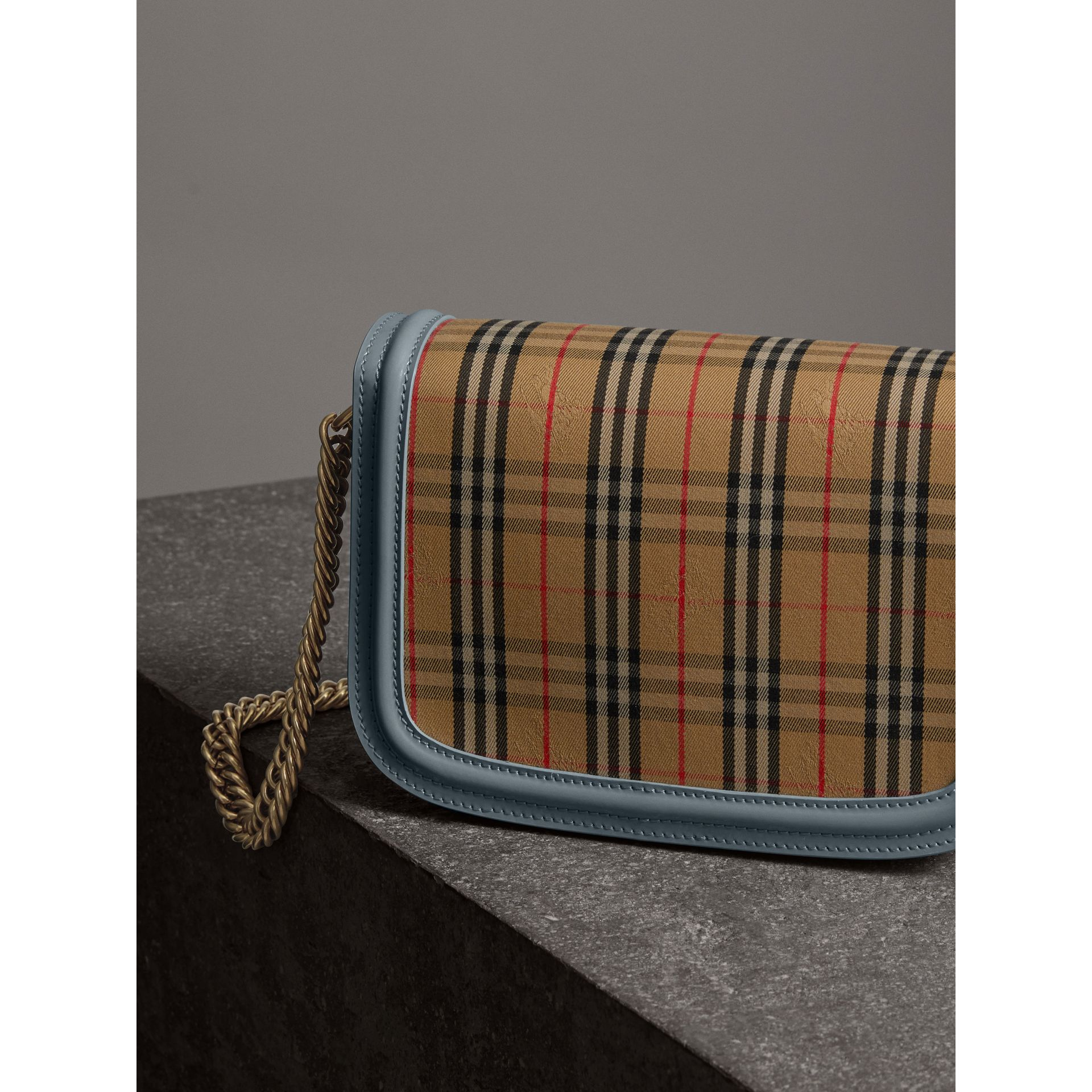 The 1983 Check Link Bag with Patent Trim in Blue Sage - Women | Burberry Canada - gallery image 4