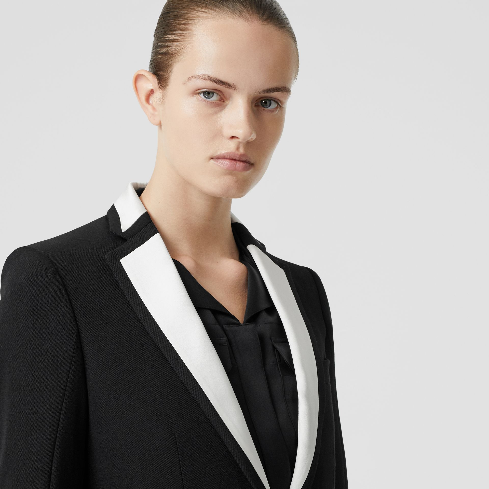 Silk Panel Wool Tailored Jacket in Black - Women | Burberry - gallery image 1