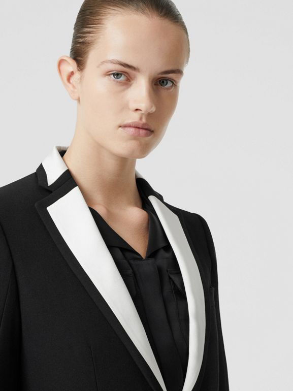 Silk Panel Wool Tailored Jacket in Black - Women | Burberry - cell image 1