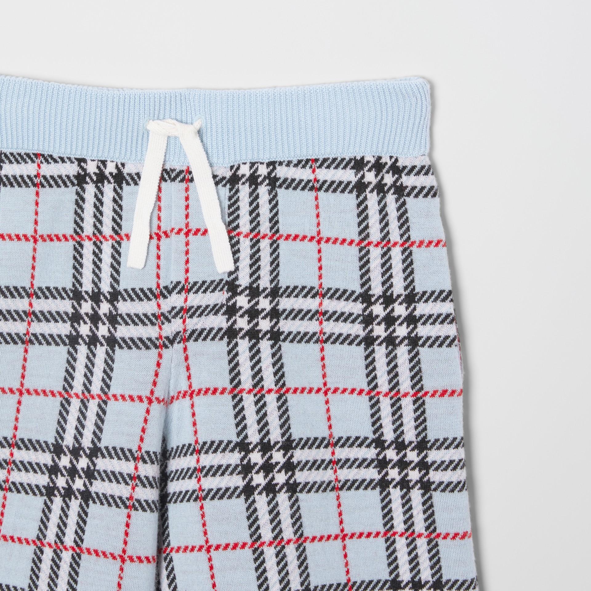 Short en jacquard de laine mérinos check (Bleu Pâle) | Burberry - photo de la galerie 4