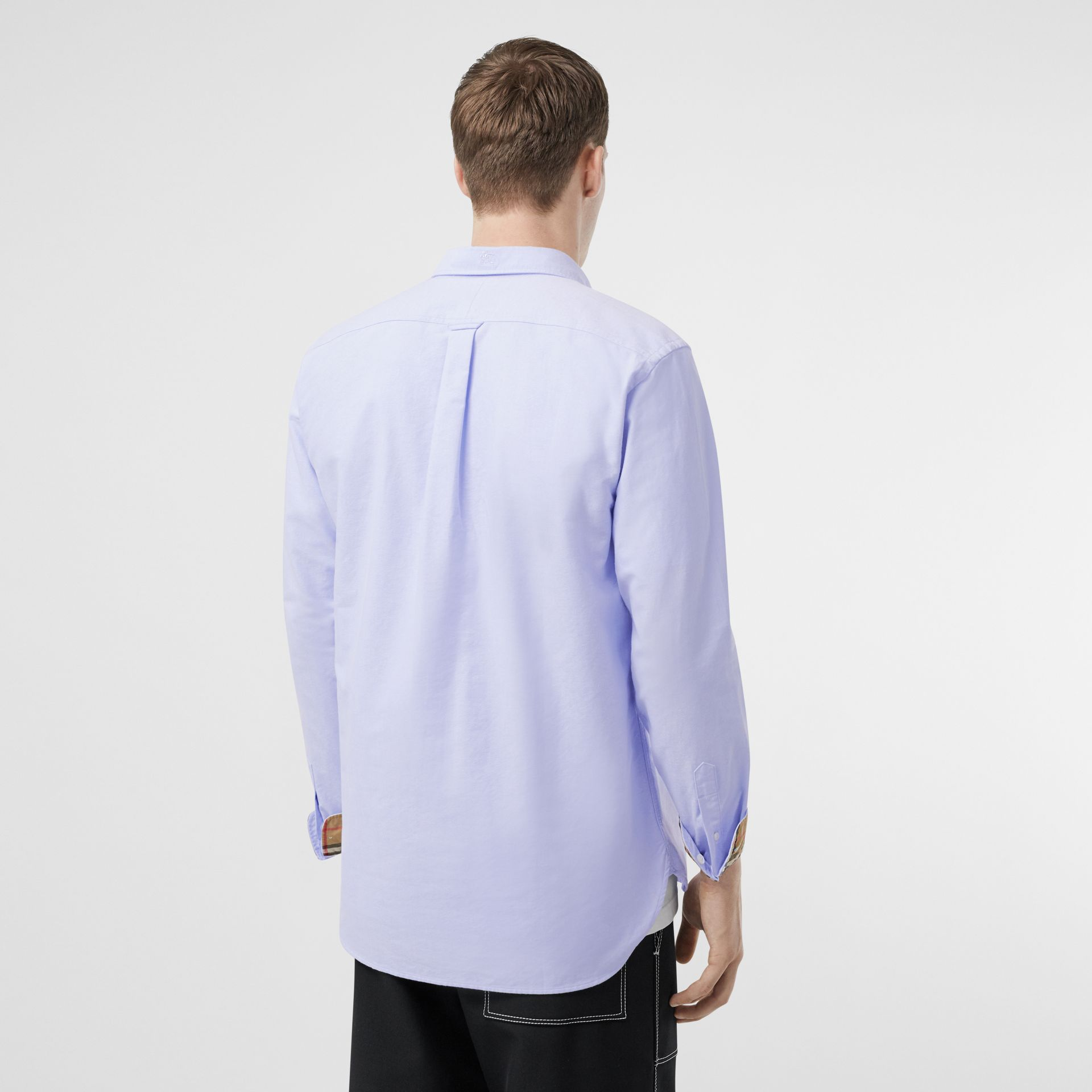 Button-down Collar Cotton Oxford Shirt in Cornflower Blue - Men | Burberry United Kingdom - gallery image 2
