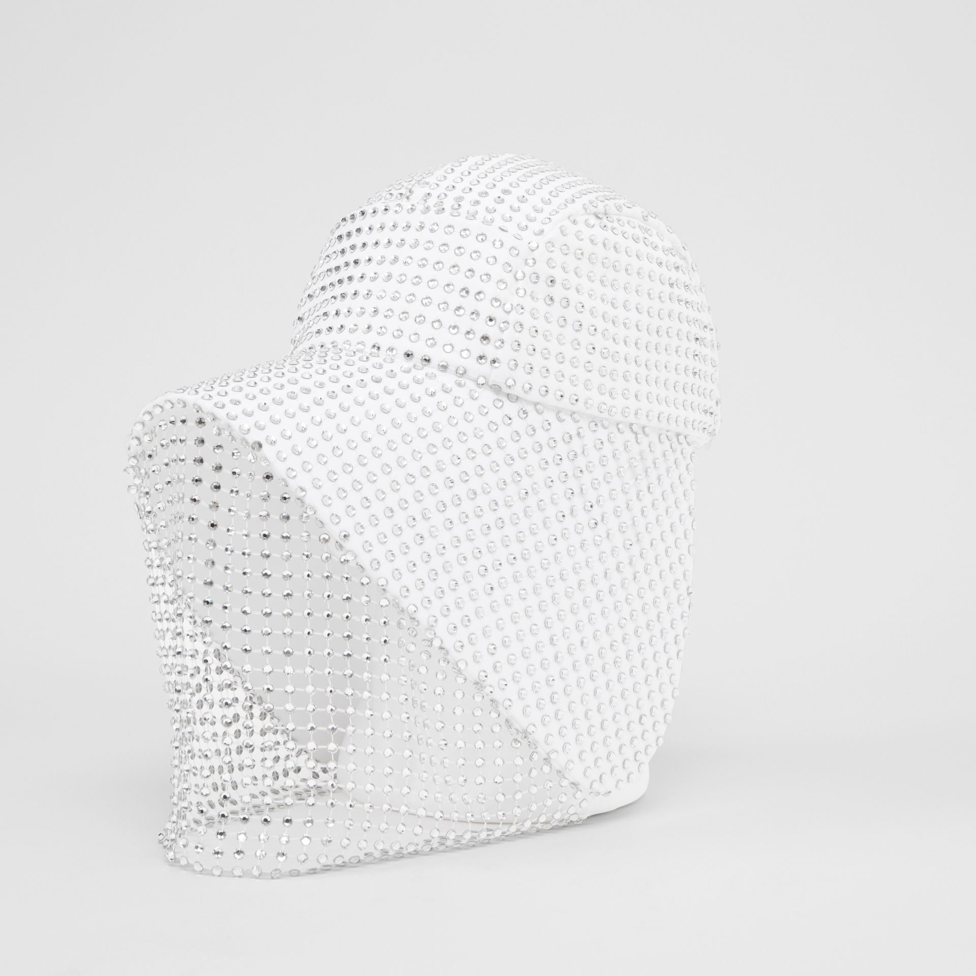 Crystal Mesh Detail Cotton Bonnet Cap in Optic White | Burberry - gallery image 6