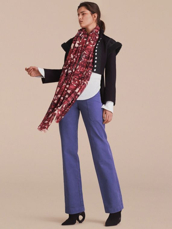 Beasts Print and Check Lightweight Wool Silk Scarf in Pink Azalea - Women | Burberry Singapore - cell image 2