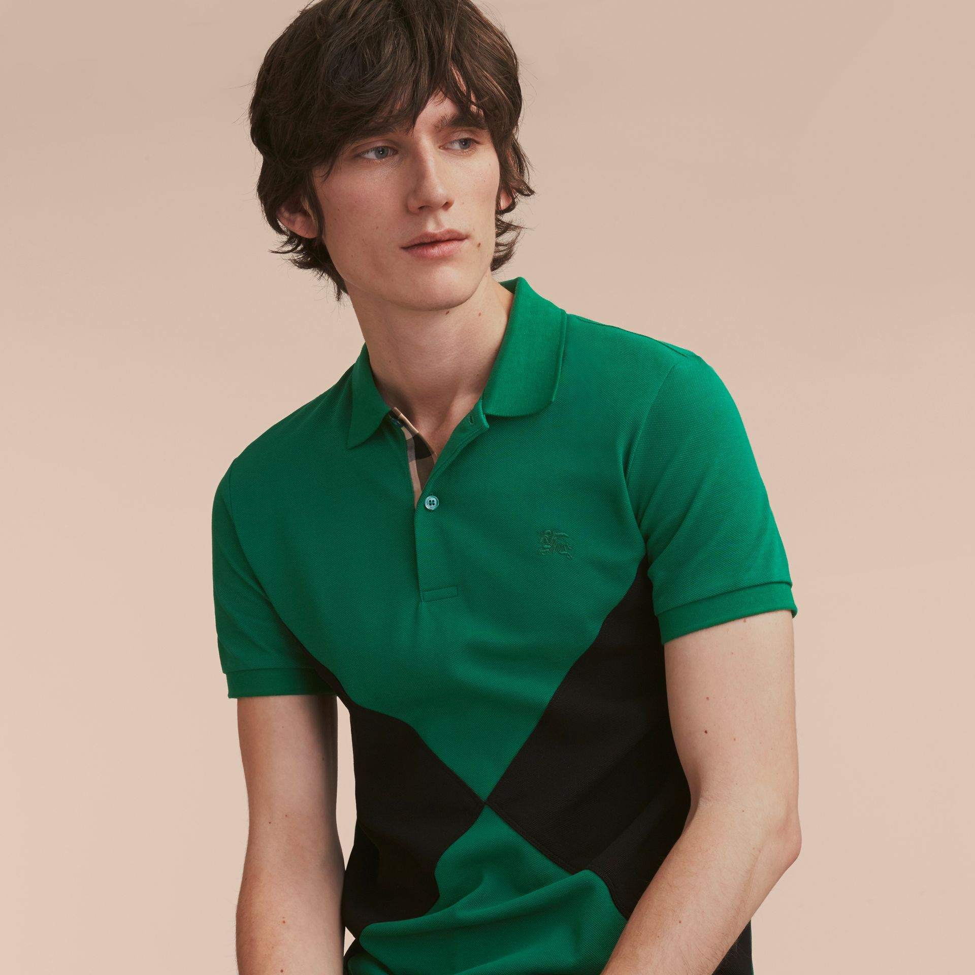 Geometric Motif Cotton Piqué Polo Shirt with Check Placket Bright Bottle Green - gallery image 6