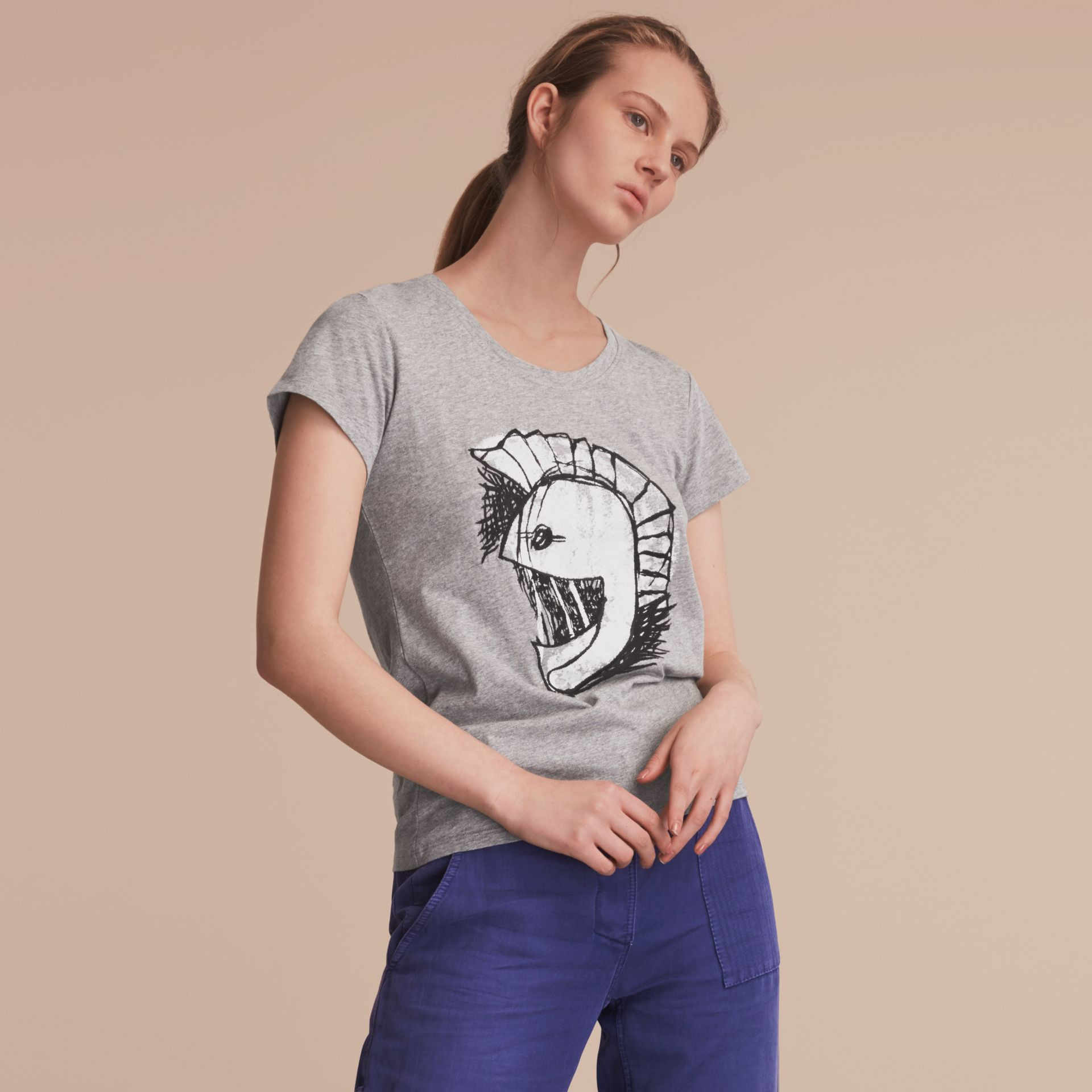 Pallas Helmet Motif Cotton T-shirt - Women | Burberry - gallery image 6