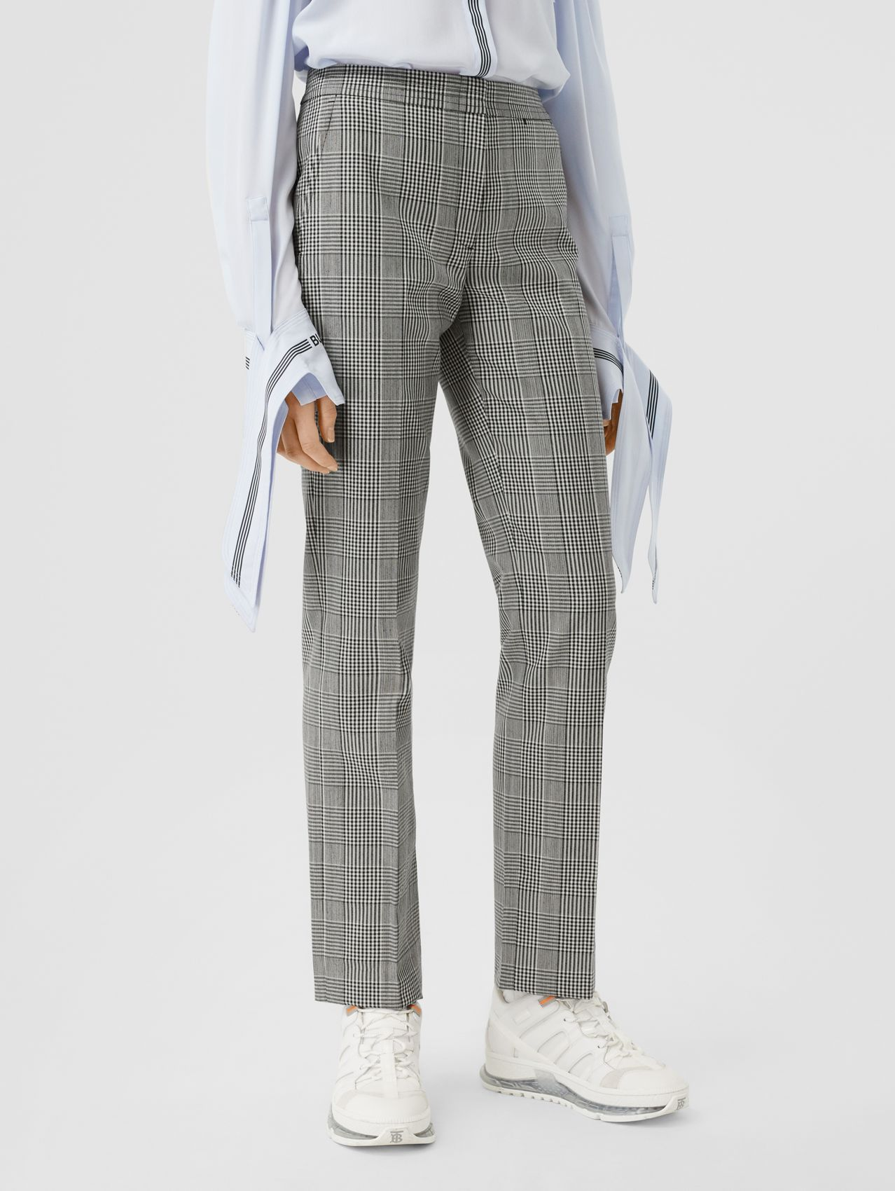 Cropped Check Technical Wool Tailored Trousers in Black