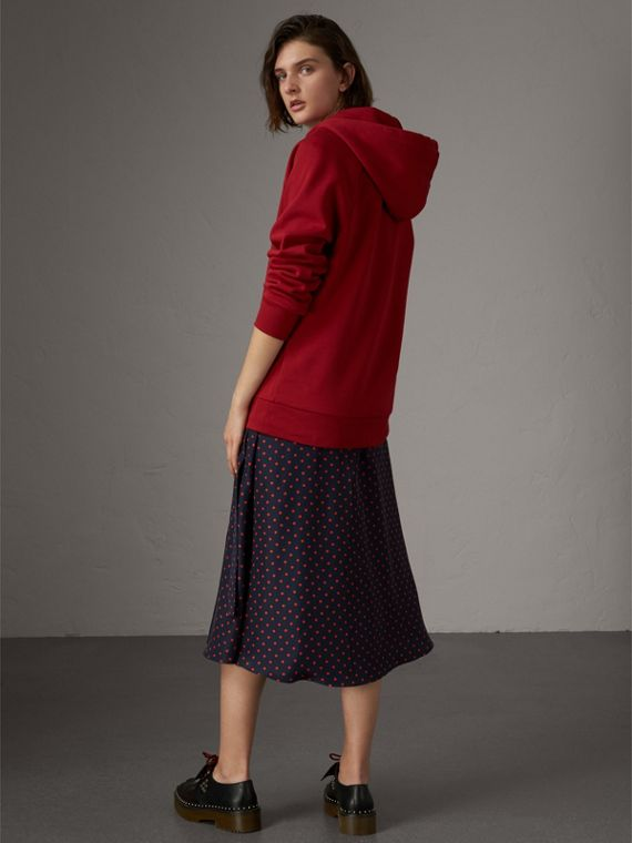 Embroidered Hooded Sweatshirt in Parade Red - Women | Burberry - cell image 2