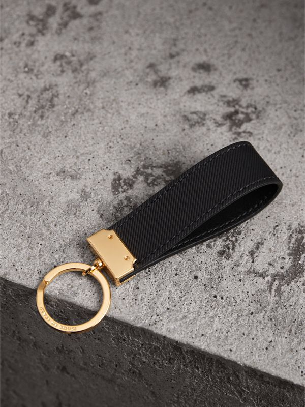 Trench Leather Key Ring in Black | Burberry - cell image 2