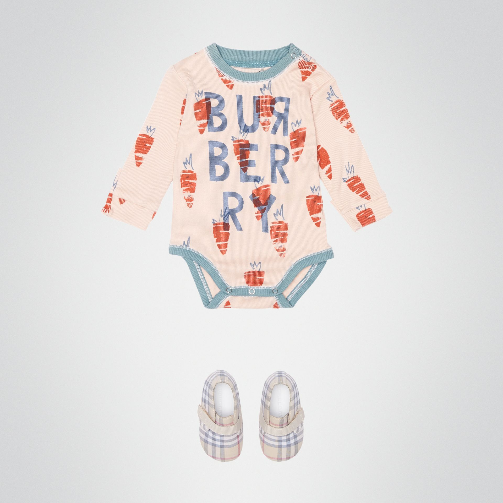 Carrot Print Cotton Bodysuit in Stone - Children | Burberry Australia - gallery image 2