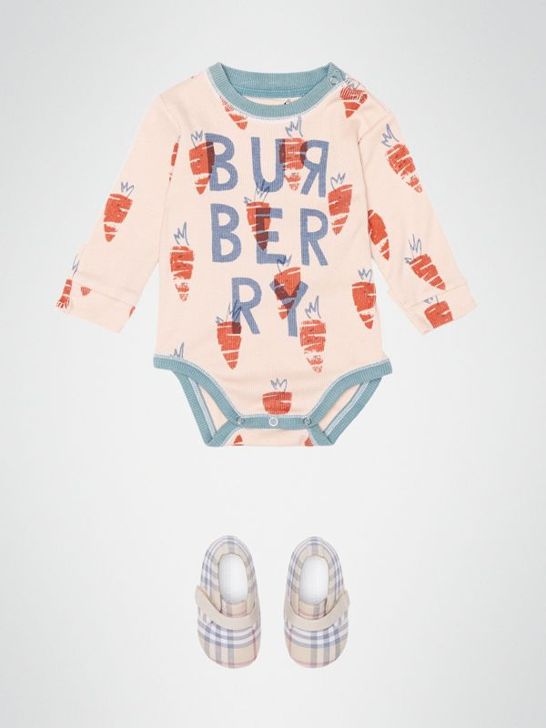 Carrot Print Cotton Bodysuit in Stone - Children | Burberry United Kingdom - cell image 2