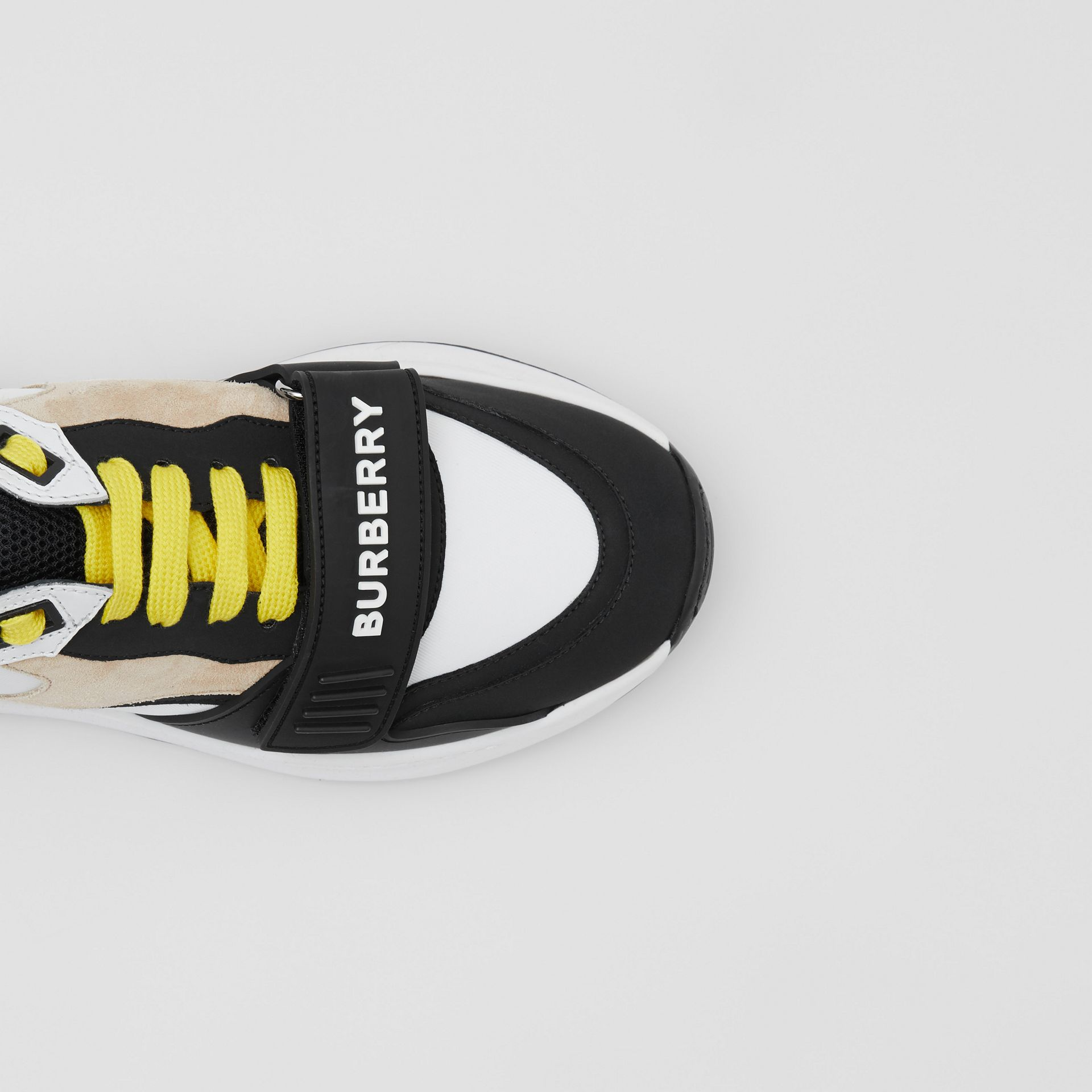 Nylon, Suede and Vintage Check Sneakers in Archive Beige - Women | Burberry United States - gallery image 1