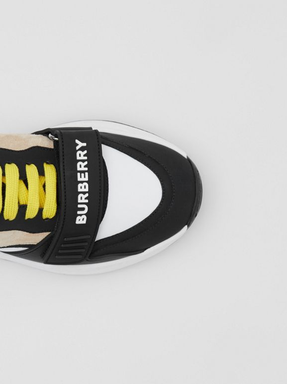 Nylon, Suede and Vintage Check Sneakers in Archive Beige - Women | Burberry United States - cell image 1