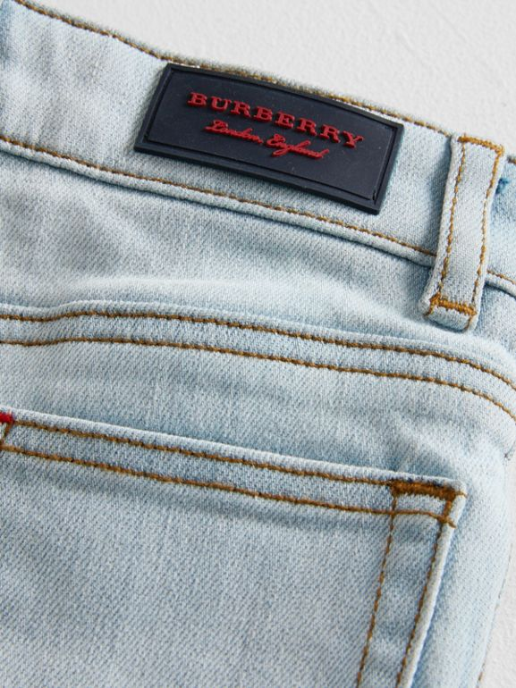 Skinny Fit Stretch Denim Jeans in Light Blue - Children | Burberry - cell image 1