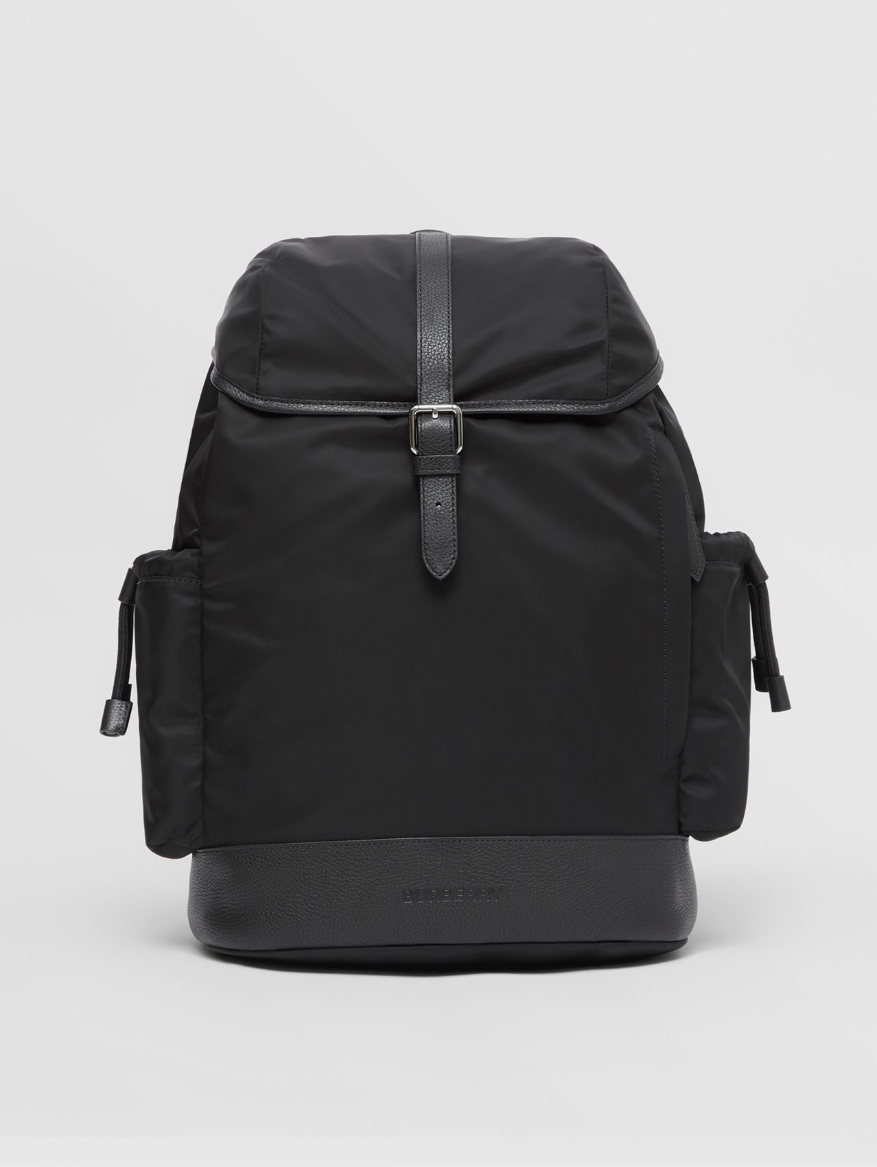Leather Trim Nylon Baby Changing Backpack in Black